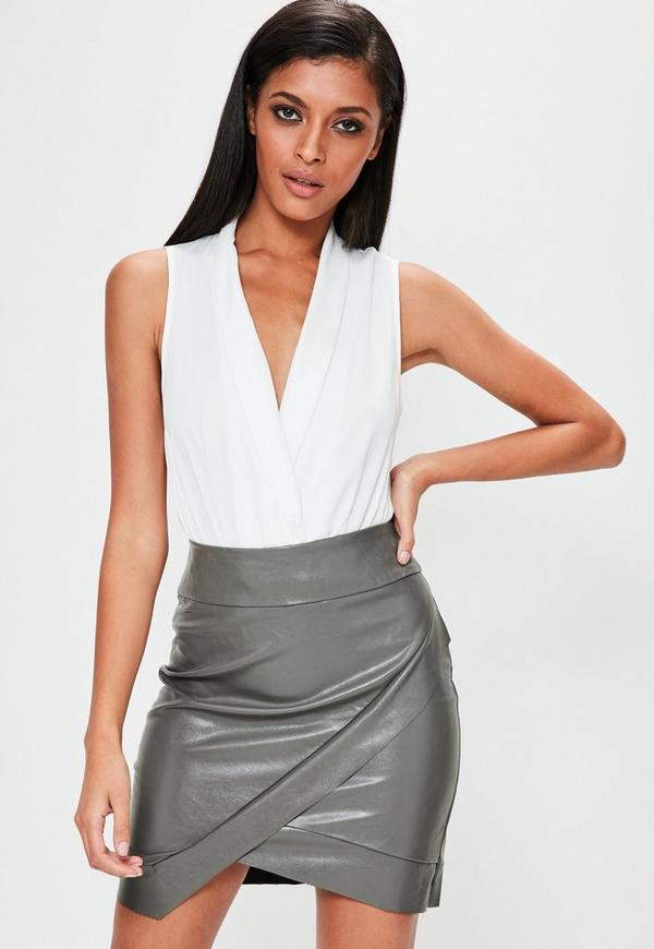 Grey Asymmetric Faux Leather Mini Skirt