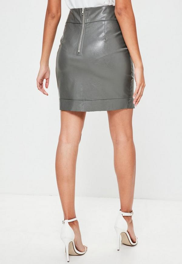 grey asymmetric faux leather mini skirt missguided