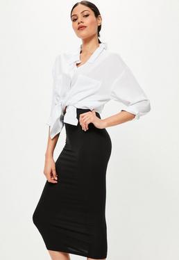 Black Jersey Longline Midi Skirt