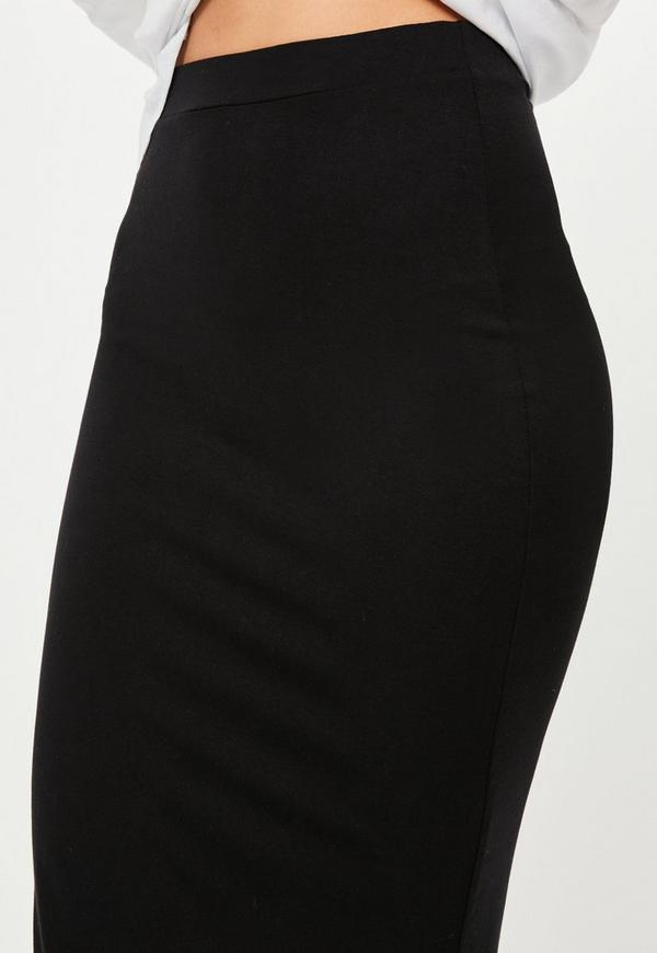 black jersey longline midi skirt missguided