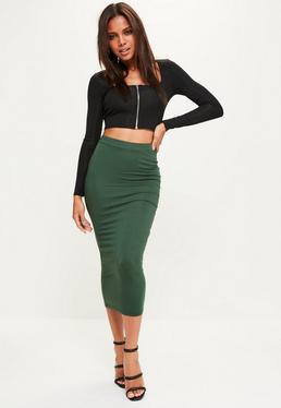 Khaki Jersey Longline Midi Skirt