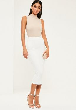 White Jersey Longline Midi Skirt
