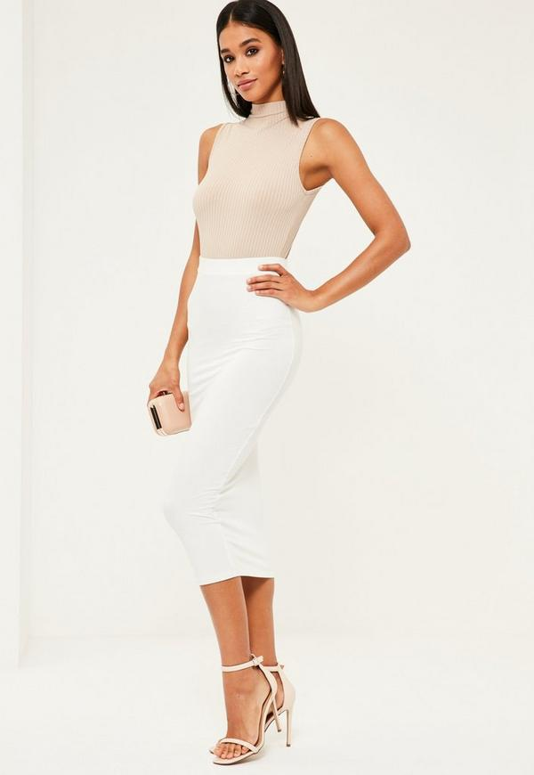 white jersey longline midi skirt missguided
