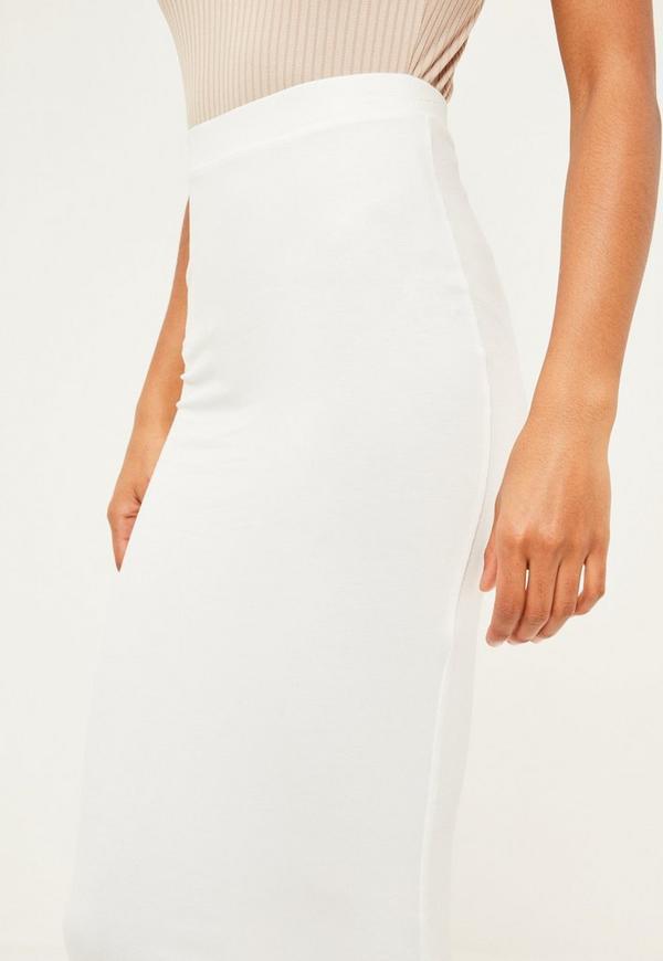 White Jersey Longline Midi Skirt - Missguided