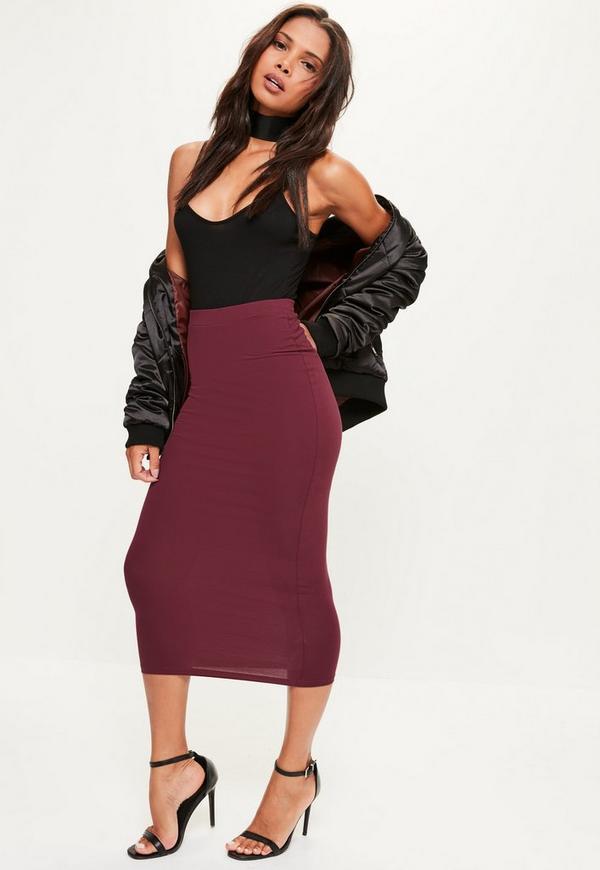 Burgundy Jersey Longline Midi Skirt