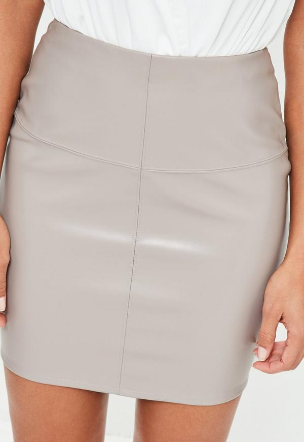 grey faux leather mini skirt missguided
