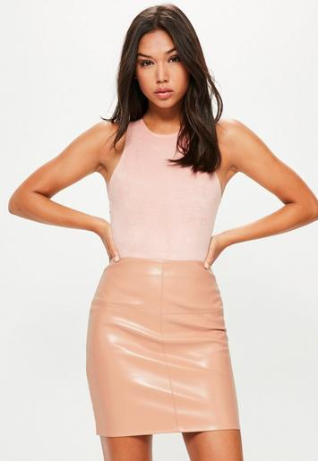 Nude Faux Leather Mini Skirt | Missguided Australia