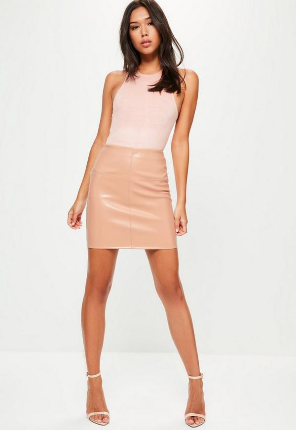 Nude Faux Leather Mini Skirt | Missguided Ireland