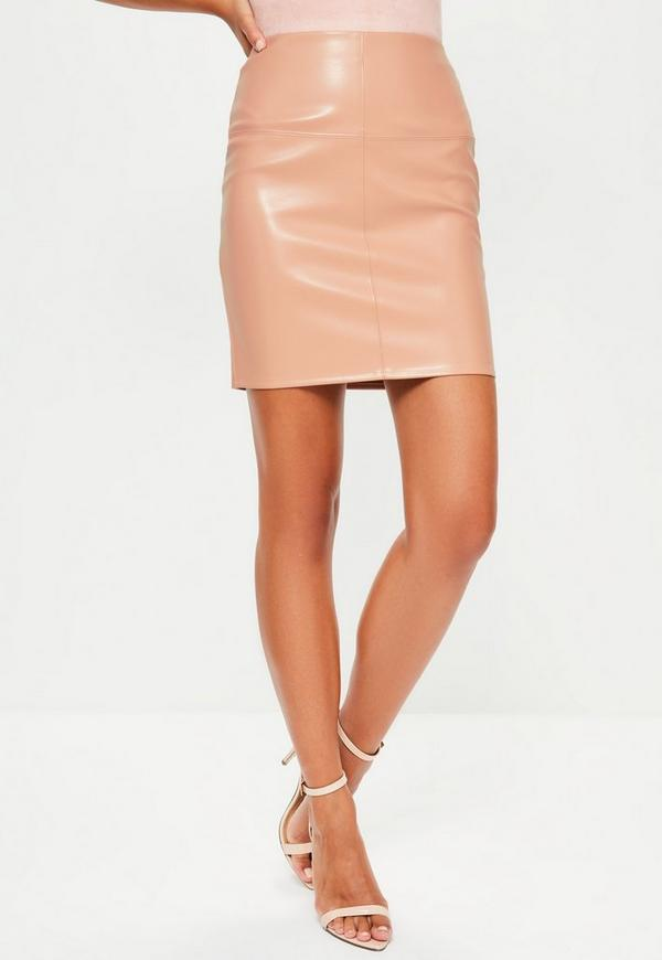 Nude Faux Leather Mini Skirt | Missguided