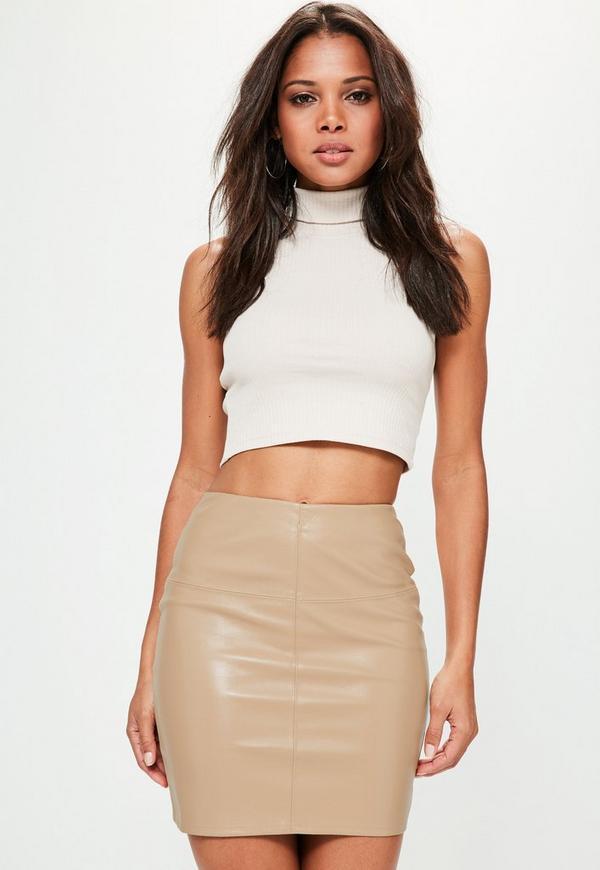 Tan Faux Leather Mini Skirt
