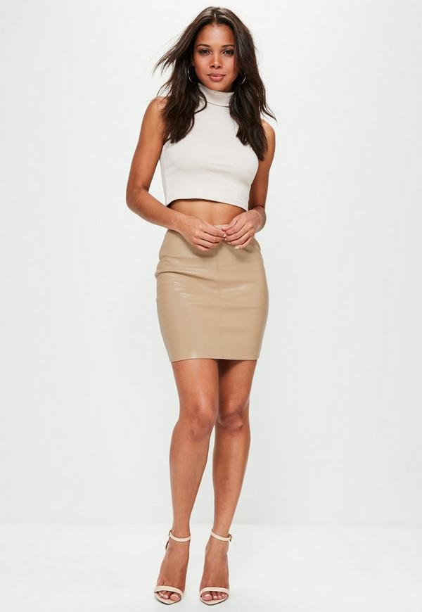 Tan Faux Leather Mini Skirt | Missguided Ireland