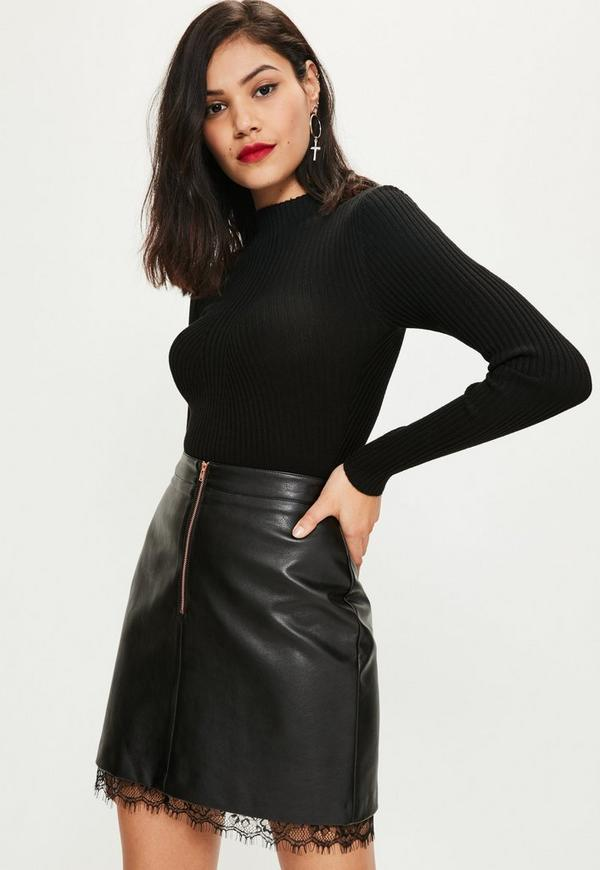 Black Faux Leather Lace Hem Zip Front Mini Skirt