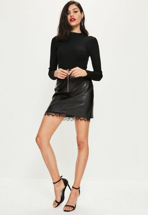 Black Faux Leather Lace Hem Zip Front Mini Skirt | Missguided