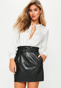 Black Faux Leather Paperbag Waist Mini Skirt