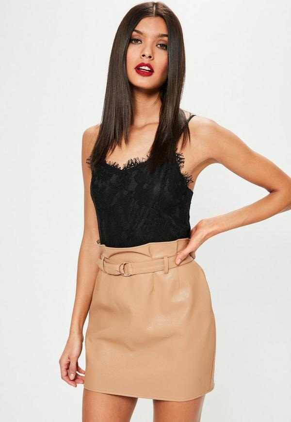 Tan Faux Leather Paperbag Waist Mini Skirt