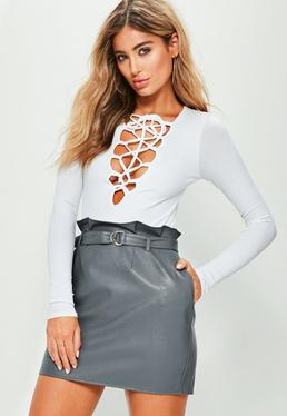 Grey Faux Leather Paperbag Waist Mini Skirt