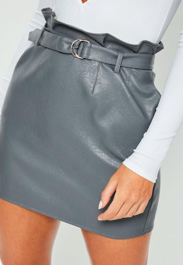 grey faux leather paperbag waist mini skirt missguided