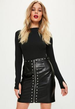 Black Zip Detail Stud Faux Leather Mini Skirt