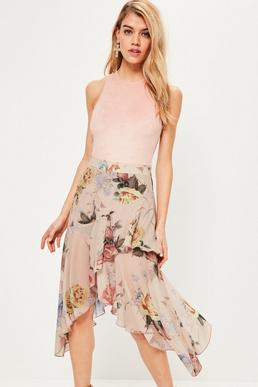 Nude Floral Printed Chiffon Frill Midi Skirt