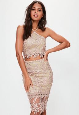 Premium Nude Floral Lace Midi Skirt