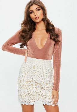 White Crochet Lace Lined Mini Skirt