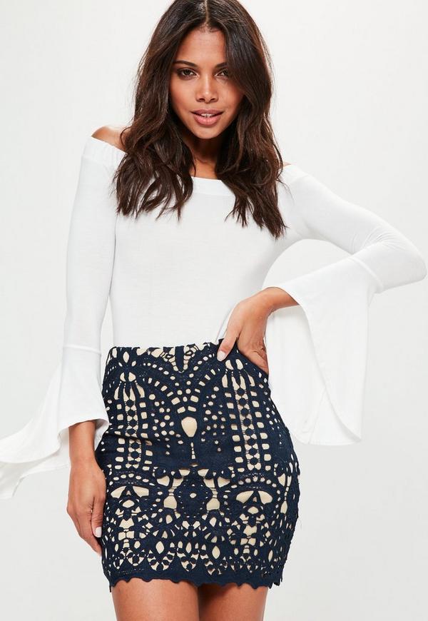 Navy Crochet Lace Lined Mini Skirt