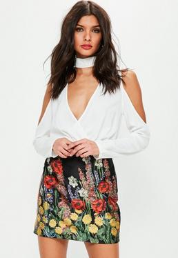 Black Poppy Floral Printed High Shine Mini Skirt