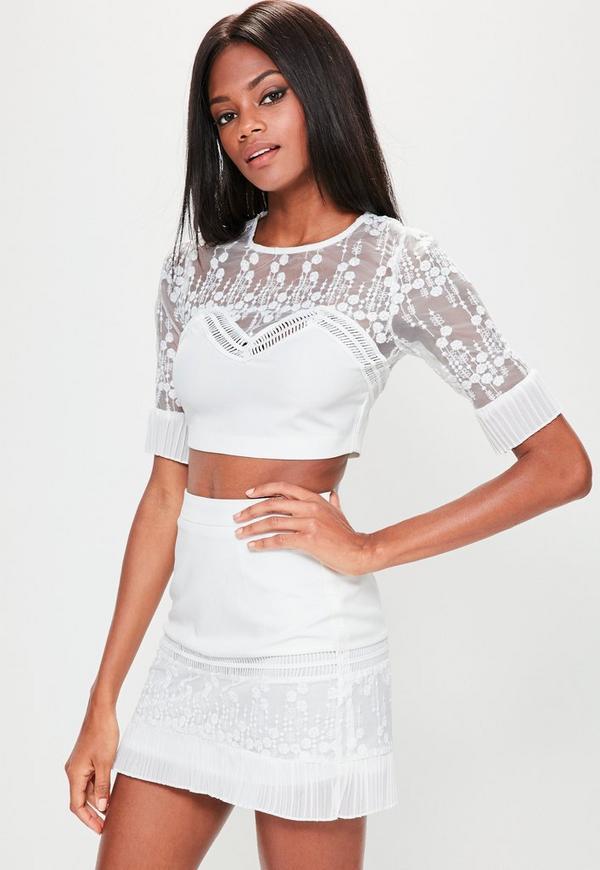 White Embroidered Pleat Detail Mini Skirt
