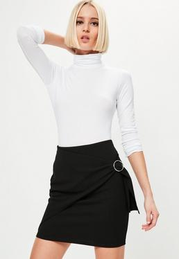 Black Wrap Front Circle Ring Detail Mini Skirt