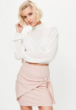 Pink Wrap Front Circle Ring Detail Mini Skirt