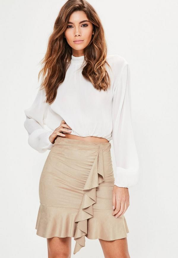 Nude Faux Suede Frill Front Mini Skirt