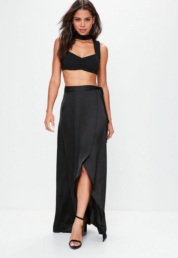 Black Satin Split Tie Side Maxi Skirt