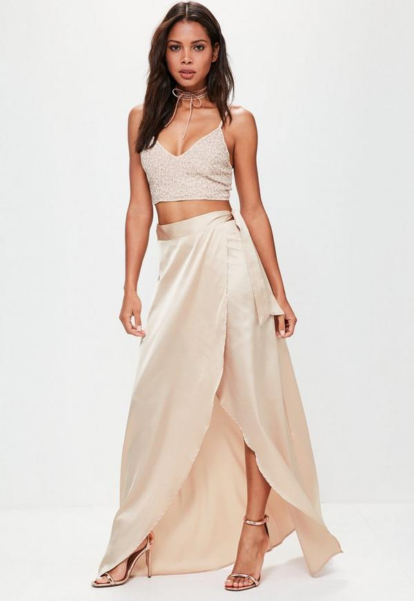 Nude Satin Split Tie Side Maxi Skirt