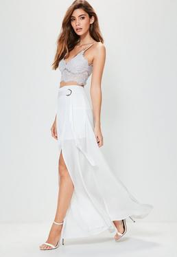 White Thigh Split D Ring Detail Maxi Skirt