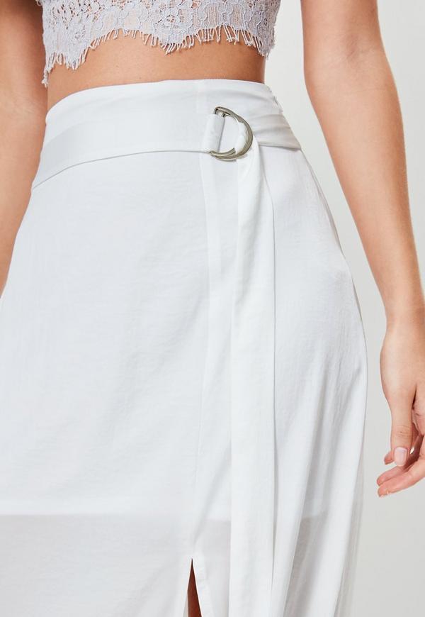 jupe longue blanche fendue avec ceinture missguided. Black Bedroom Furniture Sets. Home Design Ideas