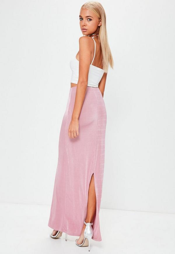 Pink Slinky Split Back Maxi Skirt