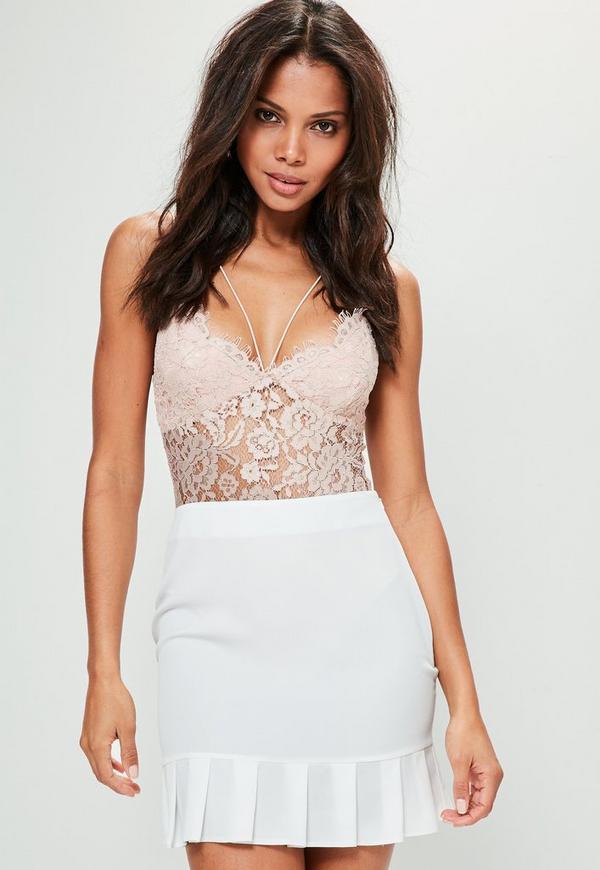 White Satin Back Crepe Pleated Hem Mini Skirt