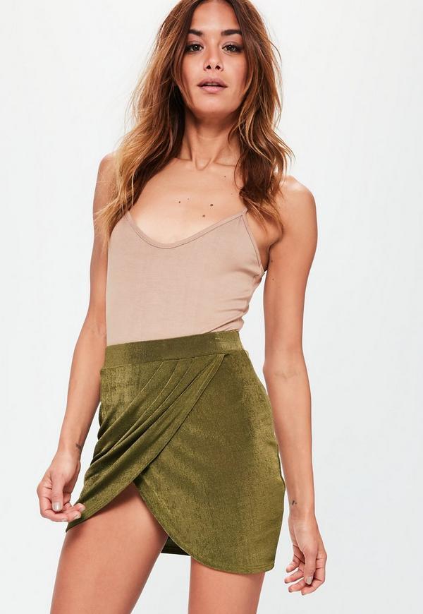 Khaki Slinky Grecian Wrap Mini Skirt