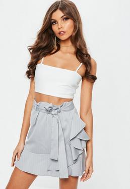 Grey Pinstripe Asymmetric Frill Mini Skirt