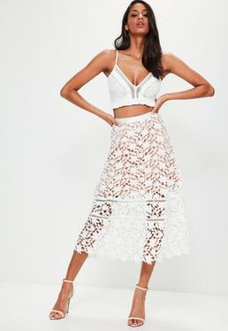Premium White Heavyweight Crochet Lace Full Midi Skirt