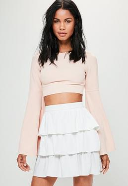 White Satin Tiered Frill Full Mini Skirt