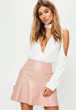 Pink Frill Hem Faux Leather Mini Skirt