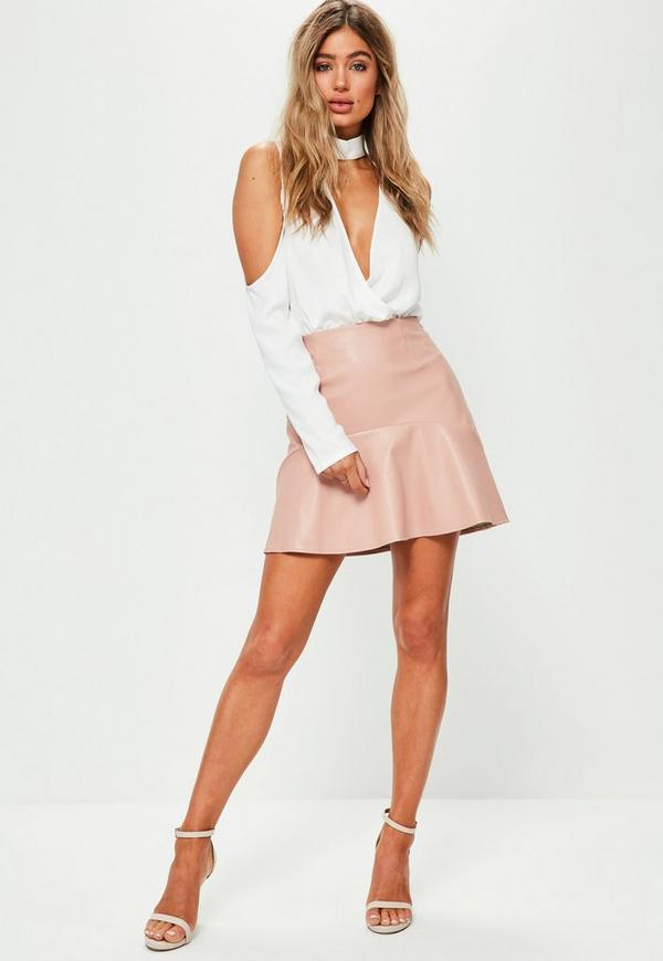 Pink Frill Hem Faux Leather Mini Skirt - Missguided