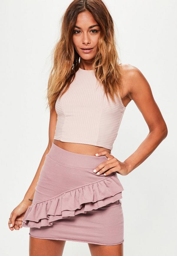 Pink Jersey Frill Detail Raw Hem Mini Skirt