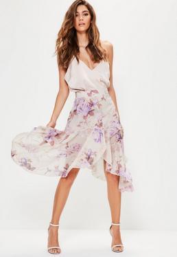 Purple Floral Printed Chiffon Frill Midi Skirt