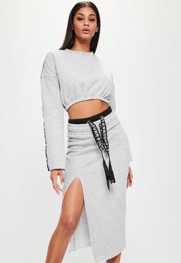Szara poszarpana spódnica midi z ozdobnym logo Londunn + Missguided