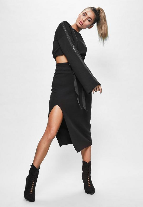 Londunn + Missguided Black Fleeceback Raw Hem Midi Skirt