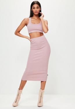 Różowa prążkowana spódnica midi Londunn + Missguided