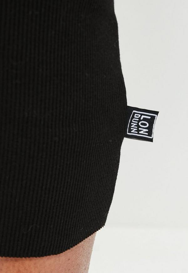 londunn missguided black ribbed midi skirt missguided