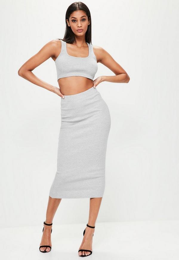 Londunn + Missguided Grey Ribbed Midi Skirt